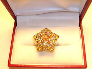 18k Solid White Star Ring - Yellow - Orange Sapphires And Champagne Diamonds