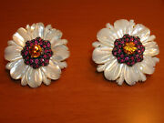 Solid 14k Yellow Gold Daisy Flower Earrings With M.o.p., Ruby And Citrine Stones -