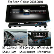 Android 10 Car Gps Radio Stereo 4+64gb Ram For Mercedes Benz C Class 2008-2010