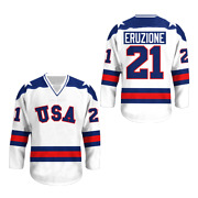 1980 Miracle On Ice M Eruzione 21 Usa Blue Hockey Jersey Colors Free Shipping