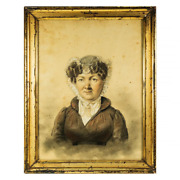 Antique Sketch And Pastel Portrait In Frame, Signed School Of Ingres C.1824 Id'd