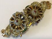 Vintage Coro Duette Enameled With Red And Clear Rhinestones Flower Fur Clip Brooch