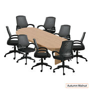 Gof 10 Ft Conference Table With 8 Chairs, Walnut, 9-piece Table Set