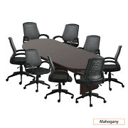 Gof 10ft Conference Table And 8 Chair G10902b Set, Mahogany