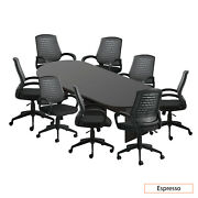 Gof 10ft Conference Table And 8 Chairg10902b Set, Espresso Color