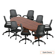 Gof 10 Ft Conference Table With 8 Chairs, Dark Cherry, 9-piece Table Set