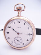 Antique National Elgin Watch Co Railroad Pocket Watch Gold Filled Double Roller