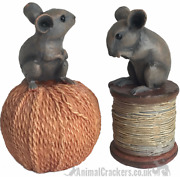 2 Old Antique Effect Mice Ornament Decorations On Reel /string Mouse Lover Gift