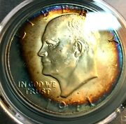 1971-s Ike 1 Pcgs Ms64+ Spectacular Toning, Scratch-free Holder Chn