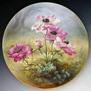 Large 18 French Limoges Porcelain Wall Plaque Charger Hand Painted Flowers