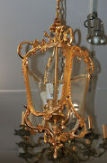 Bronze Dore French Bombe Louis Xv Lantern Lamp Chandelier Mint Condition Small