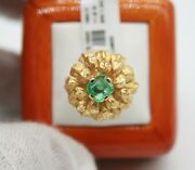 Alby 18k Yellow Gold Vintage Estate Emerald Flower Cocktail Ring.size 6