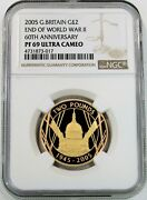 2005 Gold Great Britain 2 Pounds Wwii End Anniversary Ngc Proof 69 Ultra Cameo