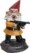 Angry Garden Gnome Statue With Gun 9.5in Tall Sculpture Funny Outdoor Yard Decor