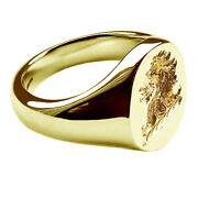 18ct Yellow Gold Family Crest Oval Signet Rings Your Hand Engraved Solid 16x13mm