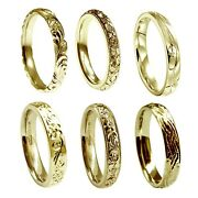 Hand Engraved 18ct Yellow Gold 5mm Wedding Rings Court Comfort New Uk Hm Bands