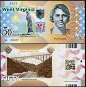 Usa United States 50 Dollars 2018 State 35th West Virginia River Gorge Polymer
