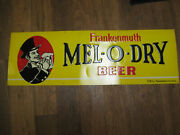 Vintage 1940and039s 1950and039s Frankenmuth Mel-o-dry Beer Tin Metal Embossed Sign Detroit