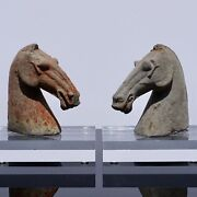 Pair Of Han Dynasty Horse Heads 206bc - 220ad