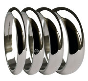 9ct White Gold D-shape Wedding Rings 2mm 3mm 4mm 5mm 6mm 8mm 10mm X Heavy Bands