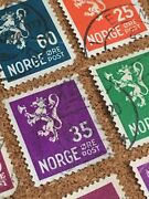 Norge Norway Used Stamp Cute Colorful King Royal Lion Øst Post Axe Scandinavia
