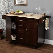 Wooden Kitchen Cart Rolling Island Cabinet With Wheels Drawers Brown Espresso