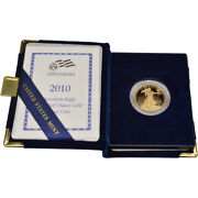 2010-w American Gold Eagle Proof 1/2 Oz 25 In Ogp