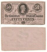 Confederate States Of America 50 Cents Banknote 1864 P.64a - Aunc.