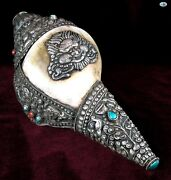 Antique 1850s Asian Burmese Chinese Nepal Shell Silver Horn W/turquoise Coral