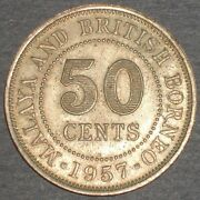 Malaya And British Borneo 50 Cents 1957 Coin Brought To America From England
