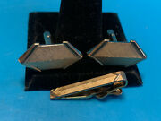 Old Vintage Swank Collectible Cuff Links And Tie Clip Gold Tone Men's Jewelry