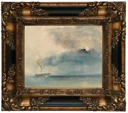 Turner A Paddle-steamer In A Storm 1841 Wood Framed Canvas Print Repro 8x10