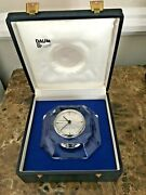 Vintage Daum Crystal Octagon Clock In Fitted Box Made In France -signed