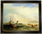 Turner Line Fishing Off Hastings 1839 Wood Framed Canvas Print Repro 18x24