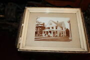 Antique Victorian Photograph Houses Woman Man Riding Bicycle Framed