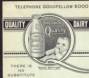 St Louis Quality Dairy Milk None Better Ice Cream Cheese Ad Card Game Tally Card