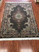 Authentic Hand Made Area Rug Wool And Silk Fine Quality Rug Medallion Design