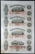 1850s Sussex Bank 1-1-1-2 New Jersey, Newton Uncut 4 Note Sheet Uncirculated