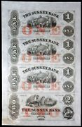 1850s Sussex Bank 1-1-1-2 New Jersey Newton Uncut 4 Note Sheet Uncirculated