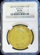 1847 Rs Gold Colombia 16 Pesos Diez I Seis Coin Ngc About Unc 50 Bogota Mint