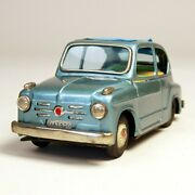 Bandai Tinplate Toy Friction Car Fiat600 17cm Long Made In Japan Free Shipping