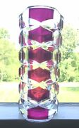 2 French Vintage Retro Deco J G Durand Cut Clear Red Ruby Cranberry Glass Vases