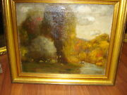 Early 20th Century Oil/canvas, Signed, Monogram, Fall Landscape With Foliage