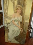 Oil Painting Signed Mary Holy 1915 Art Nouveau Period Female/outdoor Setting