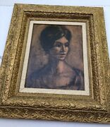 Original Oil Painting Portrait Of A Young Woman On Canvas Signed