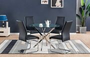 Nova Chrome Round Glass Dining Table And 4 Black White Grey Dining Chairs