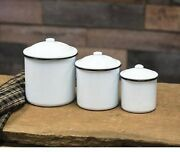 Primitive Enamelware Canisters Set 3 White With Black Trim New Farmhouse Cottage