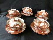 5 X Antique Japanese Hirado Eggshell Tea Cup And Saucer With Lid 1870-90
