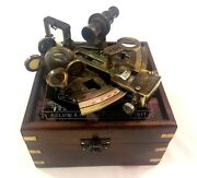 Nautical Brass Sextant Vintage Maritime Navy Ship Instruments In Wooden Box