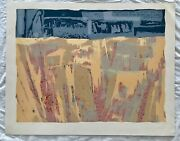Vintage Judaica Israel Abstract Painting Art Print Hand Signed By B Wool Limited